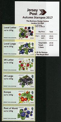 Jersey 2017 MNH Fruits & Berries Post & Go Autumn Stampex 6v Col Str JE01 Stamps