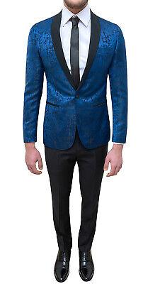 Abito completo uomo sartoriale blu damascato elegante raso smoking cerimonia