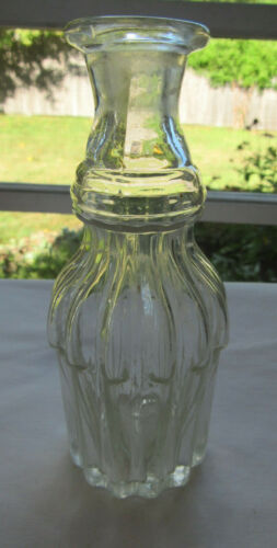 Rare Early Open Pontil Flared Collar 13 Ribbed Cologne Bottle
