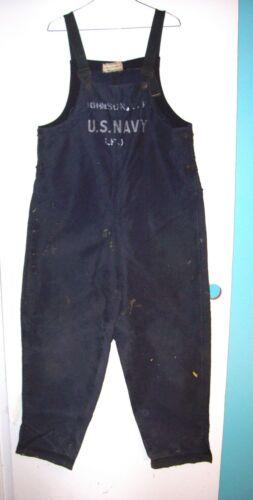 EARLY WW II U.S NAVY BLUE CANVAS DECK PANTS SZ. MEDIUM UNLINED VERSION (USN)