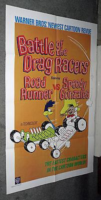 BATTLE OF THE DRAG RACERS orig 1966 cartoon one sheet movie poster ROAD  RUNNER
