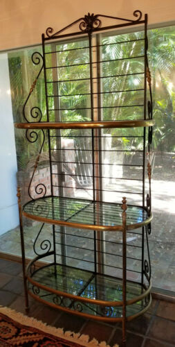 ANTIQUE FRENCH WROUGHT IRON AND BRASS BAKERS RACK w/ GLASS SHELF ETEGERE