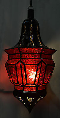 Moroccan Glass Lantern Lamp Indoor Outdoor Electric Candlelit Decorative XL Red