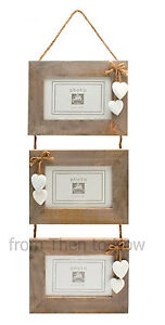 Chic & Shabby Rustic Wooden Triple Three 3 Hanging Photo Frame 6x4