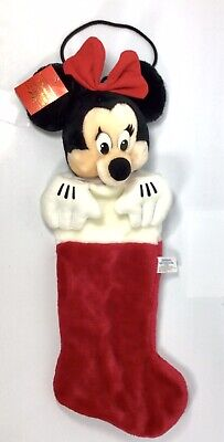 NWT Disney Parks Christmas Collection MINNIE MOUSE Stocking 3D Plush New