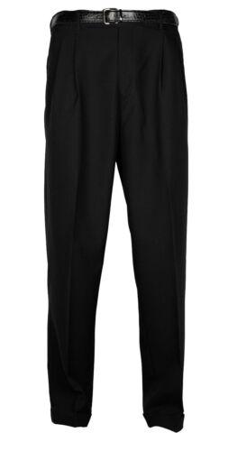 Mens Trousers Black Dress Pants Pleated Slacks W/ Black Belt New Sizes 30 To 42