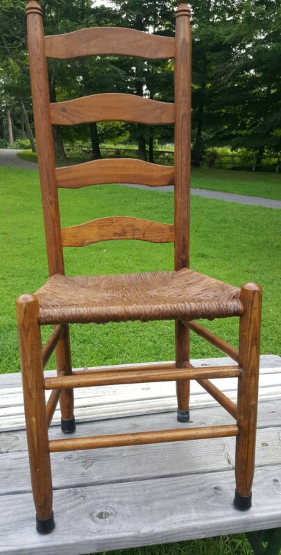 Antique Shaker Style Ladder Back Dining Chairs Rush Woven Seat(6)