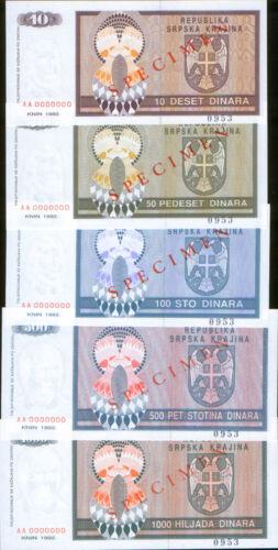 Republic of Serbian Krajina set 5 banknotes 1992. ZERO S/N. SPECIMEN. UNC.