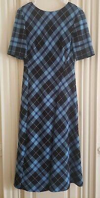 ZARA WOMAN MIDI CHECK PRINT DRESS A-LINE BLUE Plaid Medium