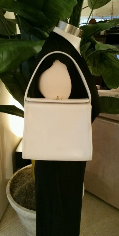 Coach Vintage White Leather Geometric Turnlock Handbag Purse RARE 9043 NWD