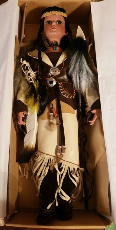 Porcelain Buffalo Lady Native American Indian Doll 25 Inches