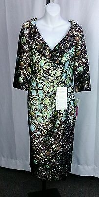 NWT Chancelle Size 8 Women's Brown / Teal / Green  Dress for Church / Career