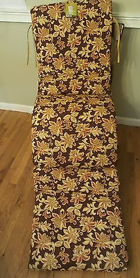 Garden Oasis Lafayette Clean Look Chaise Cushion Brown Neutral Rust Floral