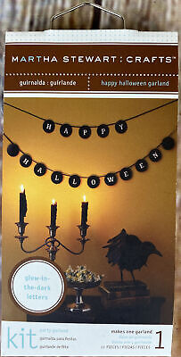 """NIP Martha Stewart Crafts Happy Halloween Glow In The Dark Garland Kit 2.5"""" Disk"""