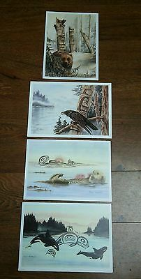 Lot 4  Island Art Greeting Cards Raven Bears Whales Urchins** Susan Coleman*NEW