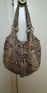 Michael Kors Beige Dark Sand Python Snakeskin Leather Tassel bag gold details