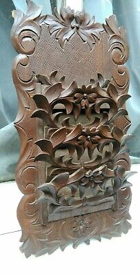ANTIQUE BLACK FOREST CONTINENTAL CARVED WOOD 3 SECTION WALL LETTER RACK
