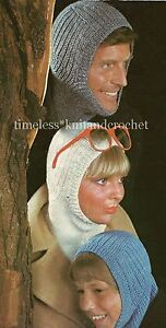 VINTAGE KNITTING PATTERN FOR A  COSY BALACLAVA / HAT - DK & 4PLY -  3 SIZES