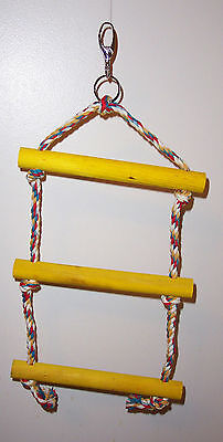 "Rope Ladder Swing 15""H  7 ¾"" Wide Square Rungs Parrot Bird Toy"