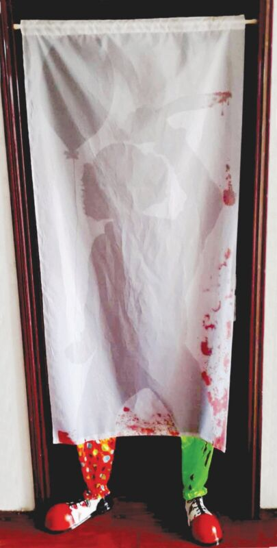 Evil Scary Clown Curtain Halloween Decoration Prop NEW