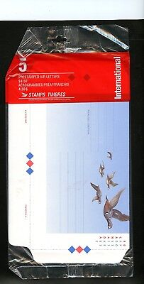 LOT 73230 UNUSED 5 AIR LETTERS  UA54 IN PO PAC BIRDS HARLEQUIN DUCK