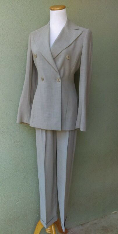 Vintage EMPORIO ARMANI Double Breasted Suit with Pleated Cuffed Trousers Sz 38