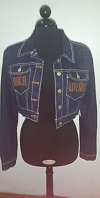 2 Piece Denim Jeans (Roca wear, NWT, 2 piece embellished denim set/cropped jacket and jeans, size L )