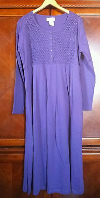 NEW! Purple Cotton Jersey Dress Smocked Beaded Pleated Inseam Pockets Paragon