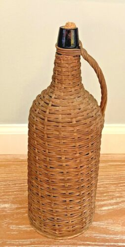 Antique Large Woven Wicker Covered Bottle Carboy Wine Demijohn with Handle/Cork