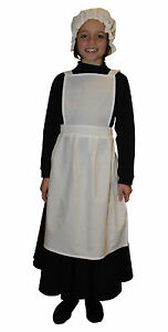 Girls Victorian / Edwardian Maids Pinafore Apron & Mop Hat Fancy Dress Costume