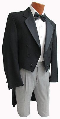 Mens Tailcoat (Men's Black Tuxedo Tailcoat 6 Button Satin Notch Lapel White Tie Wedding Mason )