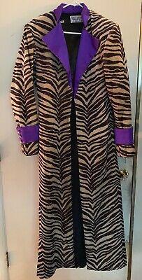 RARE ZEBRA FUR PRINT WITH PURPLE LINING LONG PIMP COAT COSTUME](Costumes With Fur Coat)