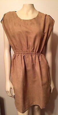 Ya Los Angeleswomens Camel Tan Suedette Parachute Mini Dress Size Large Ss