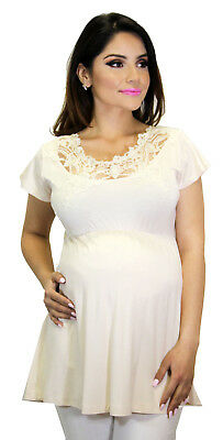 Beige Maternity Blouse Solid Lace Design Top Short Sleeve