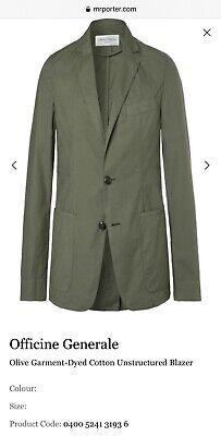 Officine Generale Olive Garment-Dyed Cotton Unstructured Blazer 48