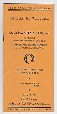 Vintage 1950's Fishing Lures Catalogue M. SCHWARTZ & SON Fishing Feathers NYC
