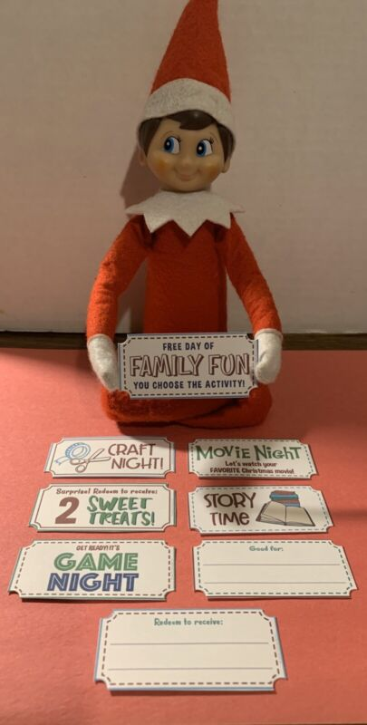 CHRISTMAS ELF FAMILY FUN TICKETS SET OF 8 FOR ON THE SHELF ACCESSORIES/PROPS