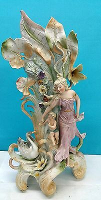 ANTIQUE SAXONY GERMAN PORCELAIN VASE ART NOUVEAU MOTHER & CHILD, SWAN 18 1/2 inc