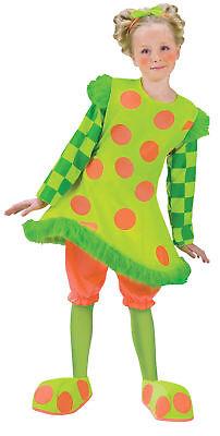 Lolli The Clown Child Costume Girls Neon Lime Green Polka Dot Fancy - Lolli The Clown Costume