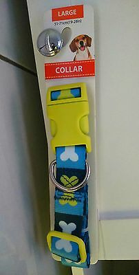 Dog  collar by Nylon Adjustable N Bone dog collar blue
