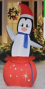 Christmas-Large-Penguin-Santa-Lights-Up-Hat-Airblown-Inflatable-7-ft-Tall-NIB