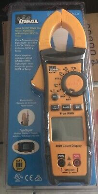 Ideal 400a Acdc Ci-amp Digital 600- Volt Clamp Meter Tightsight Wflashlight
