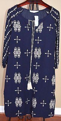 Love, Zoe  Navy/White Victorian Print Shift Dress Sz L NWT WOW!!!! - Love Zoe Dresses