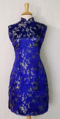 Shoulder Sleeve Chinese Cheongsam Qipao Dress wth bamboo and plum flower prints