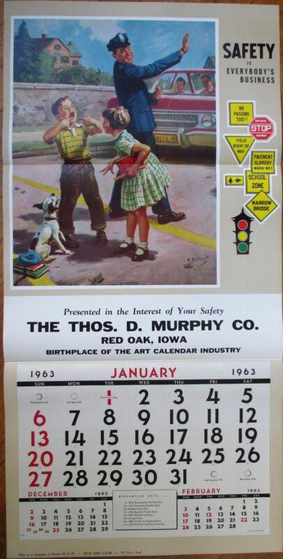 "Police Man/Dog/Children 1963 Advertising Calendar / 22"" x 44"" Poster: Safety"