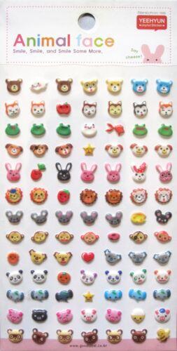 Yeehyun Joyful Animal Face Raised Sticker Sheet~KAWAII!!