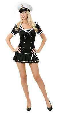 Charades 02026 Sexy Navy Brat Costume Black Adult Officer Ladies Dress SZ L - Navy Brat Costume