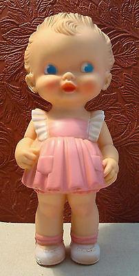Vintage Ruth E. Newton Sun Rubber Co. Girl Squeak Toy Doll Adorable!