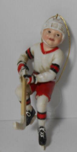 KSA Inc Kurt Adler Girl Ice Hockey Player Red White Uniform Christmas Ornament