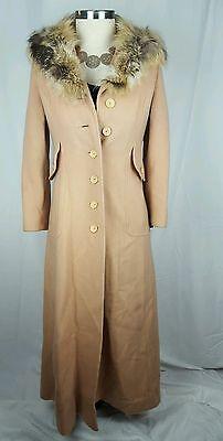 Joseph Magnin Fur Collar Full Length Trench Coat Long Winter S M 70S 80S Disco